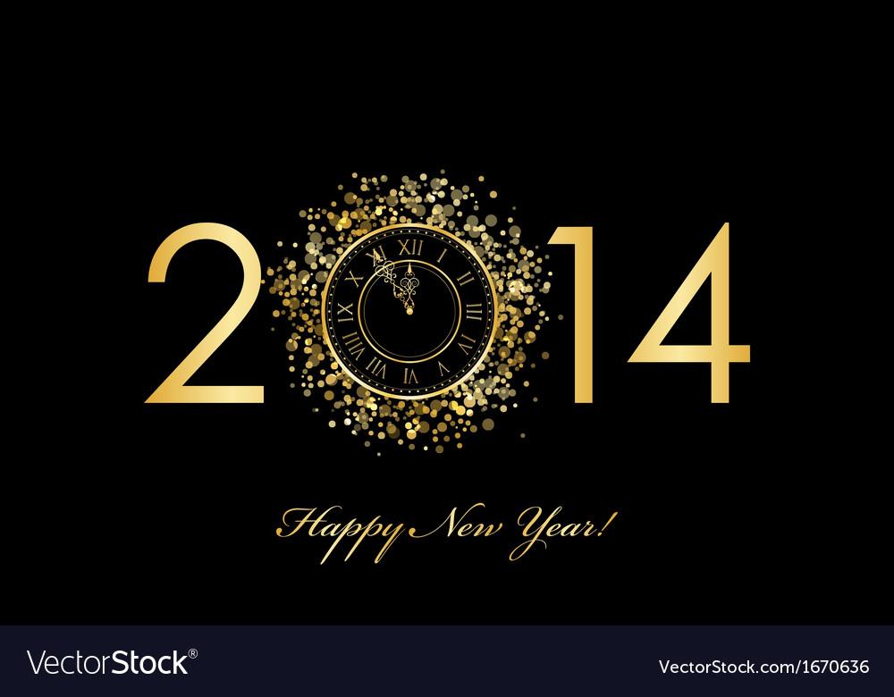 2014 new year clock vector