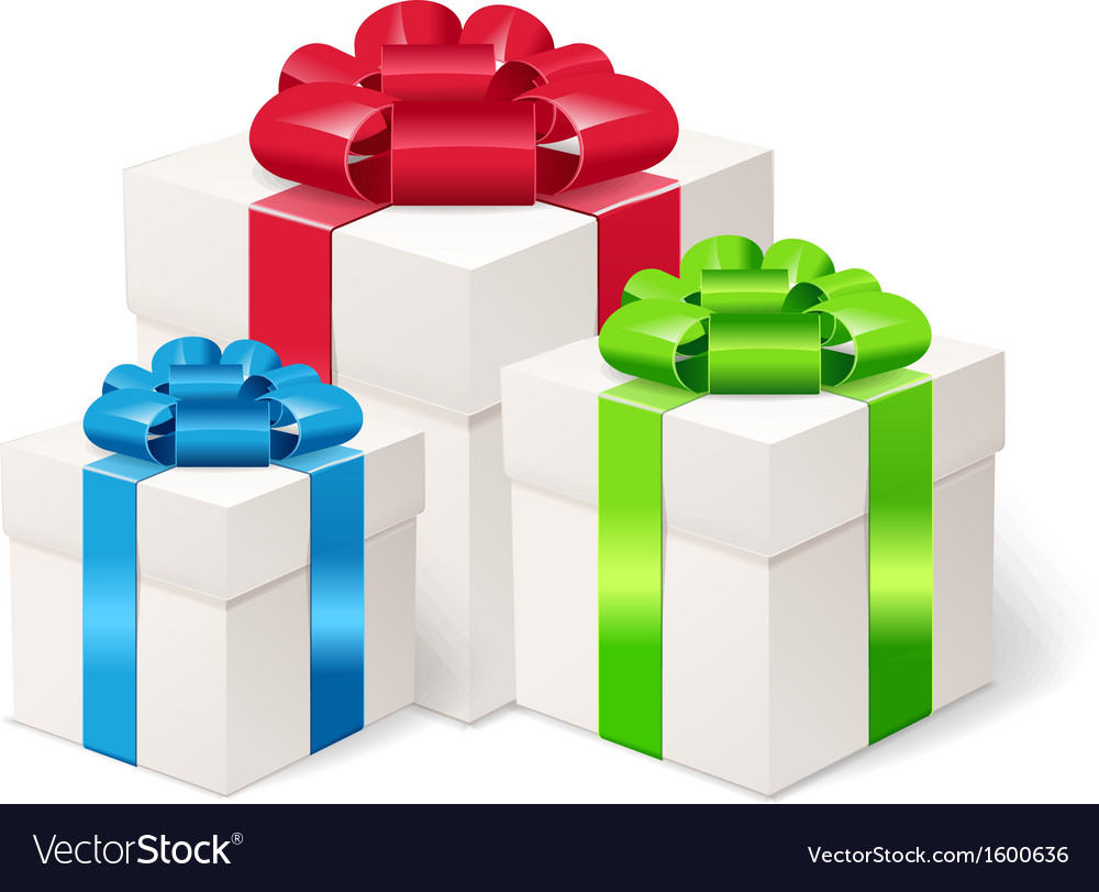 Set of colorful gift boxes with bows and ribbons vector