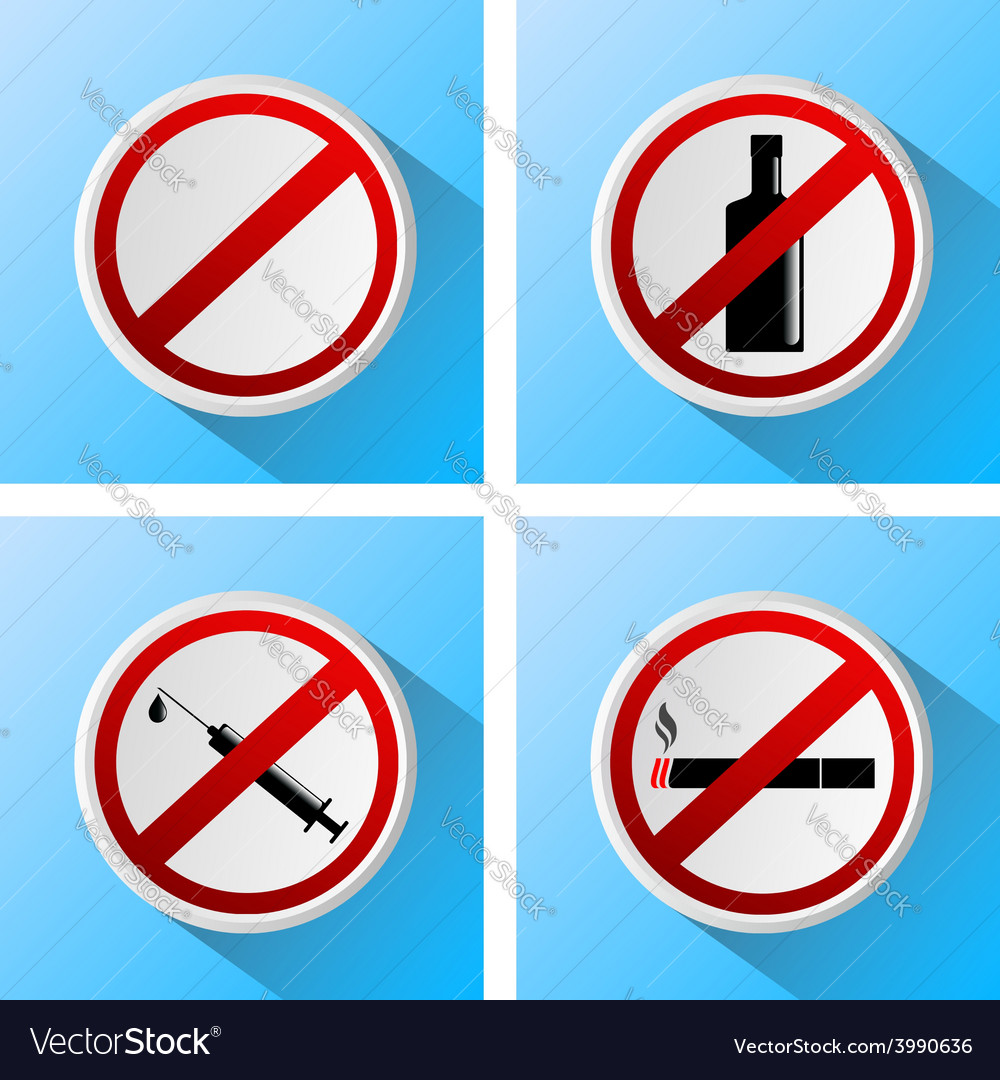Signs that prohibit bad habits vector