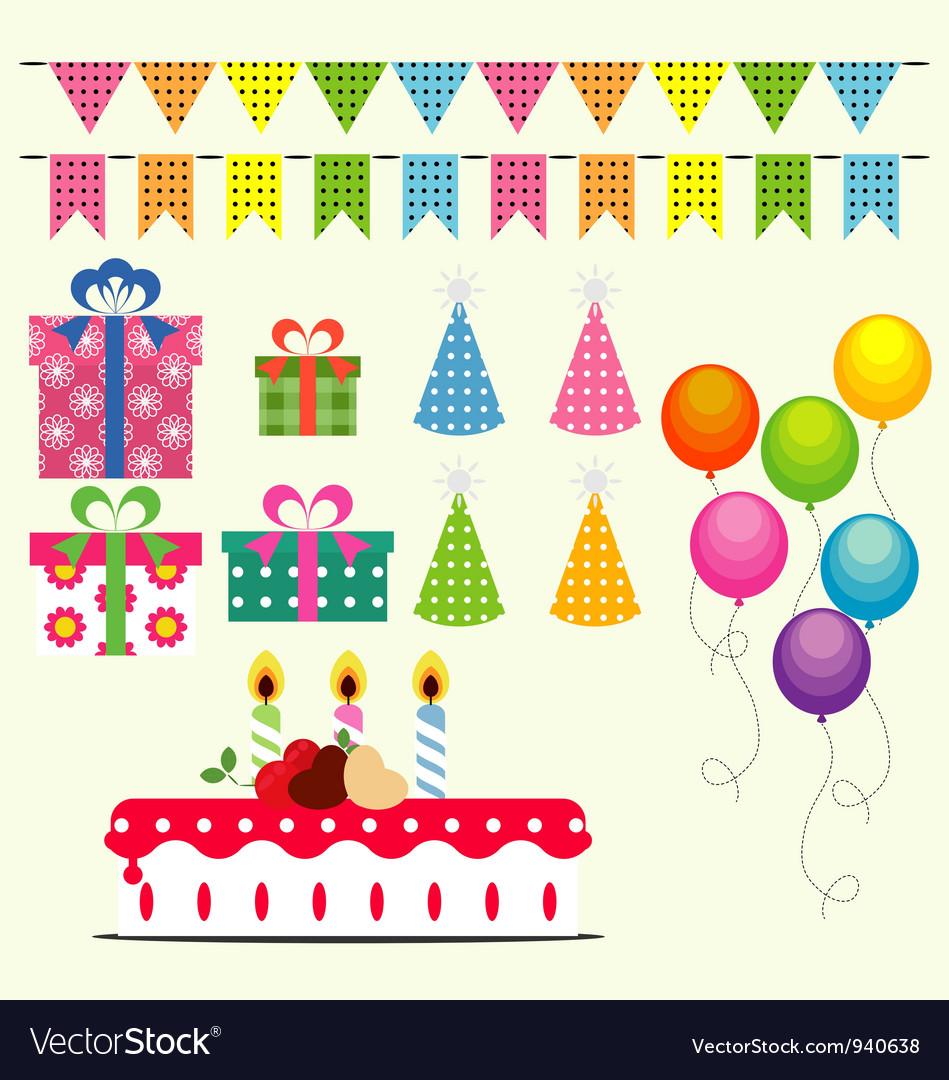 Birthday celebration elements vector