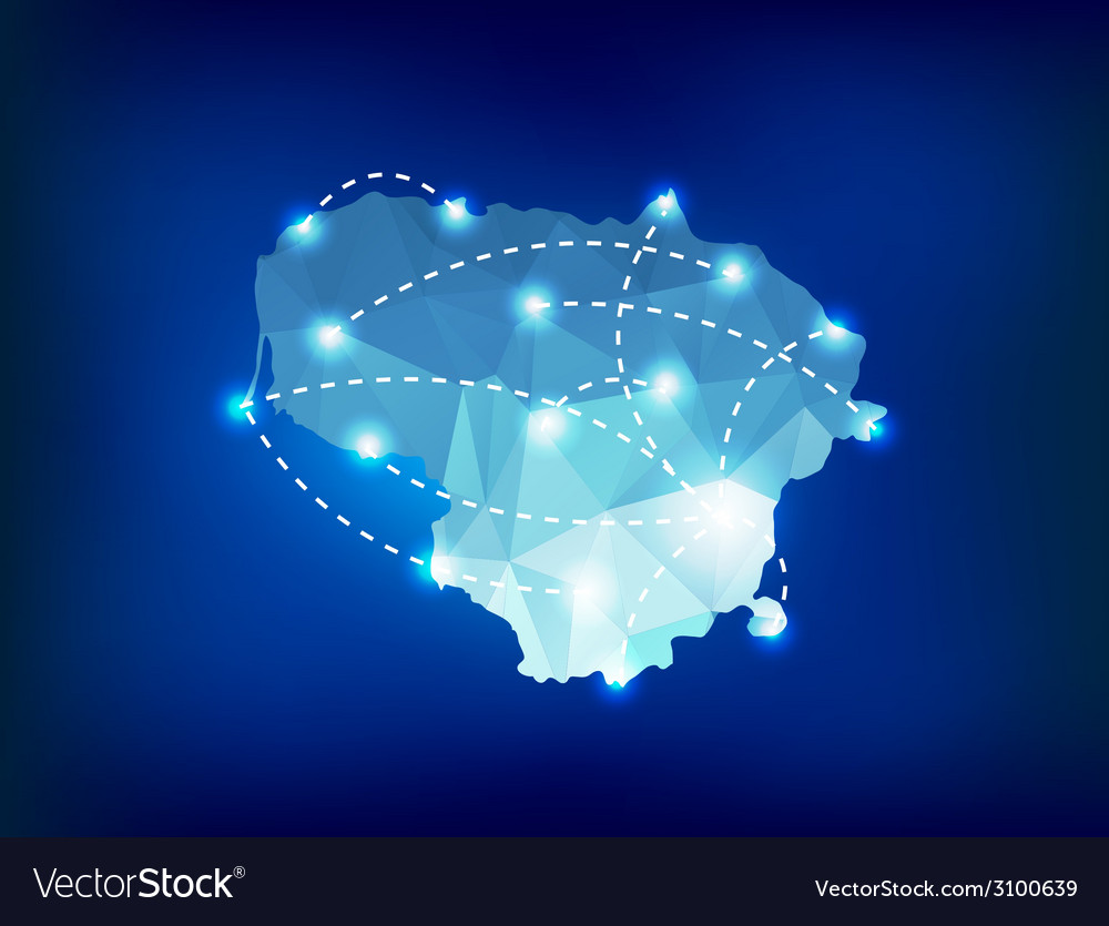Lithuania country map polygonal with spot lights vector
