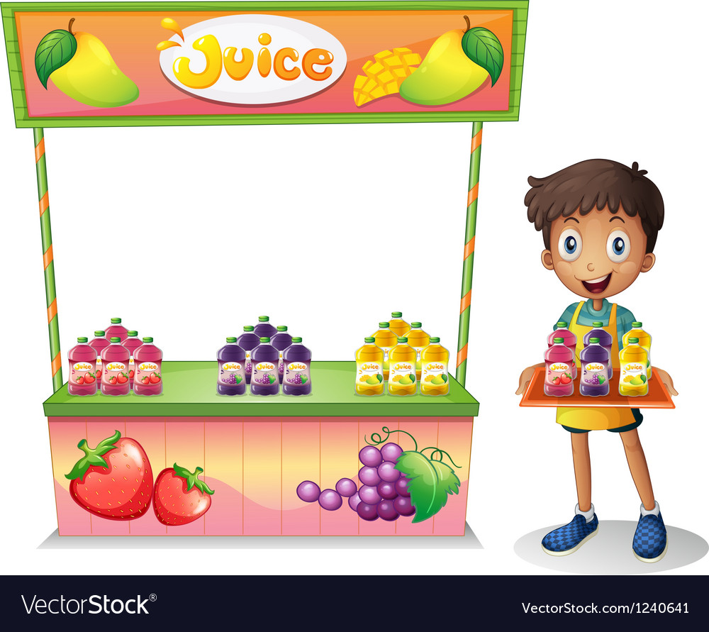 A boy selling fruit juices vector