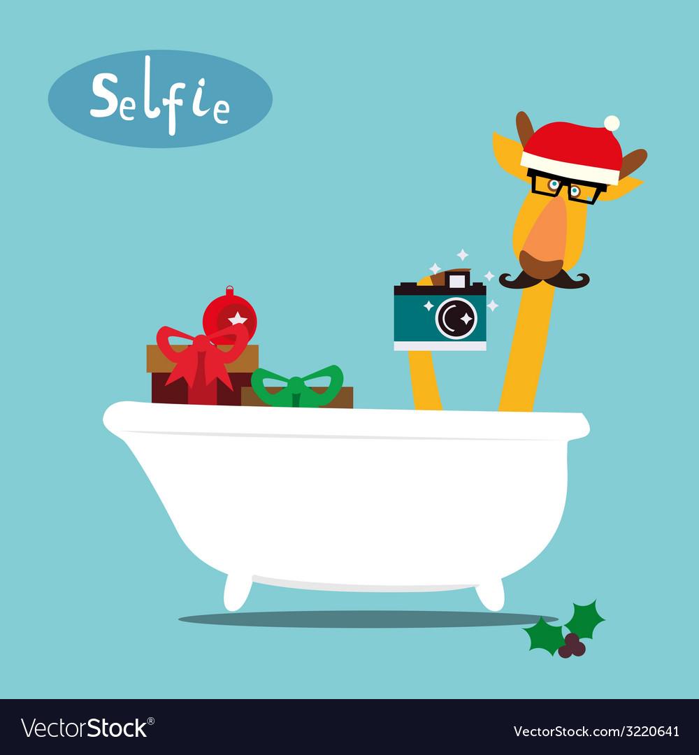Holiday card with giraffe in a bathroom vector