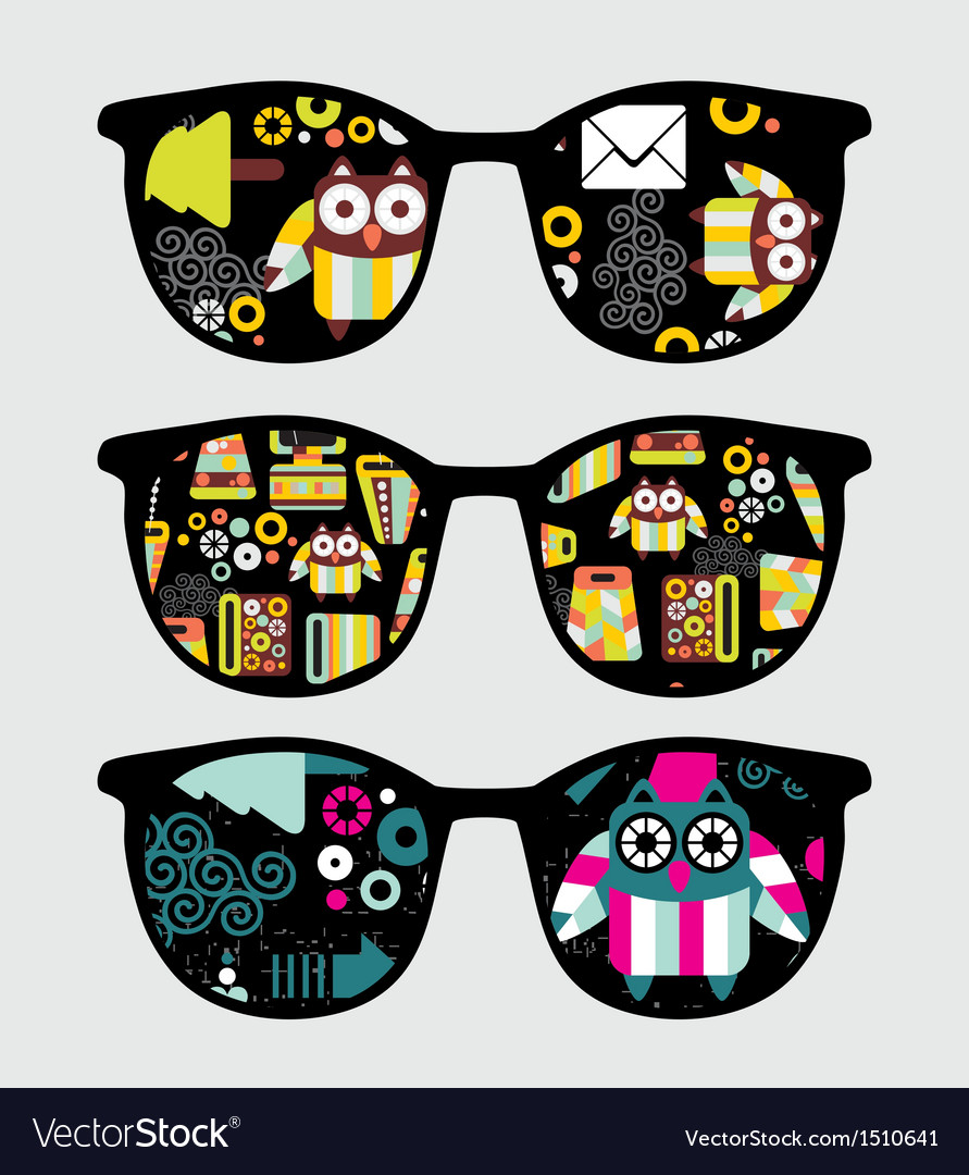 Retro sunglasses with cute owls reflection in it vector