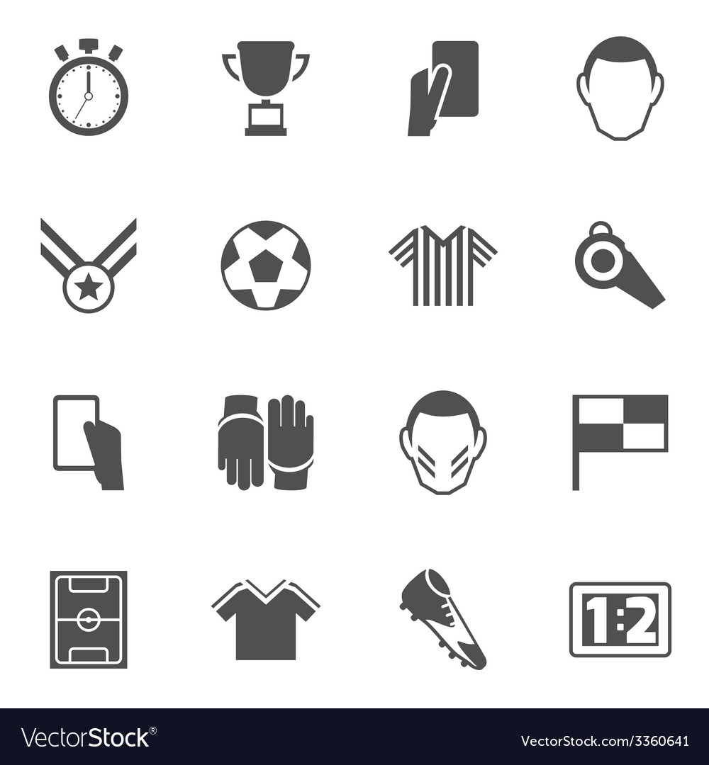 Soccer icons black vector
