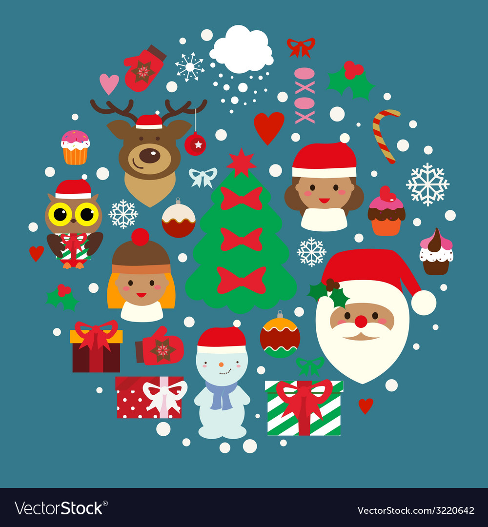 Winter holidays composition with cute characters vector