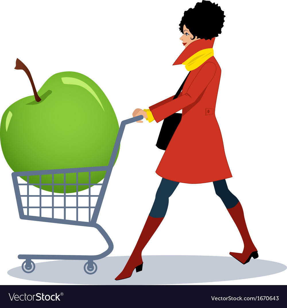 Healthy grocery shopping vector