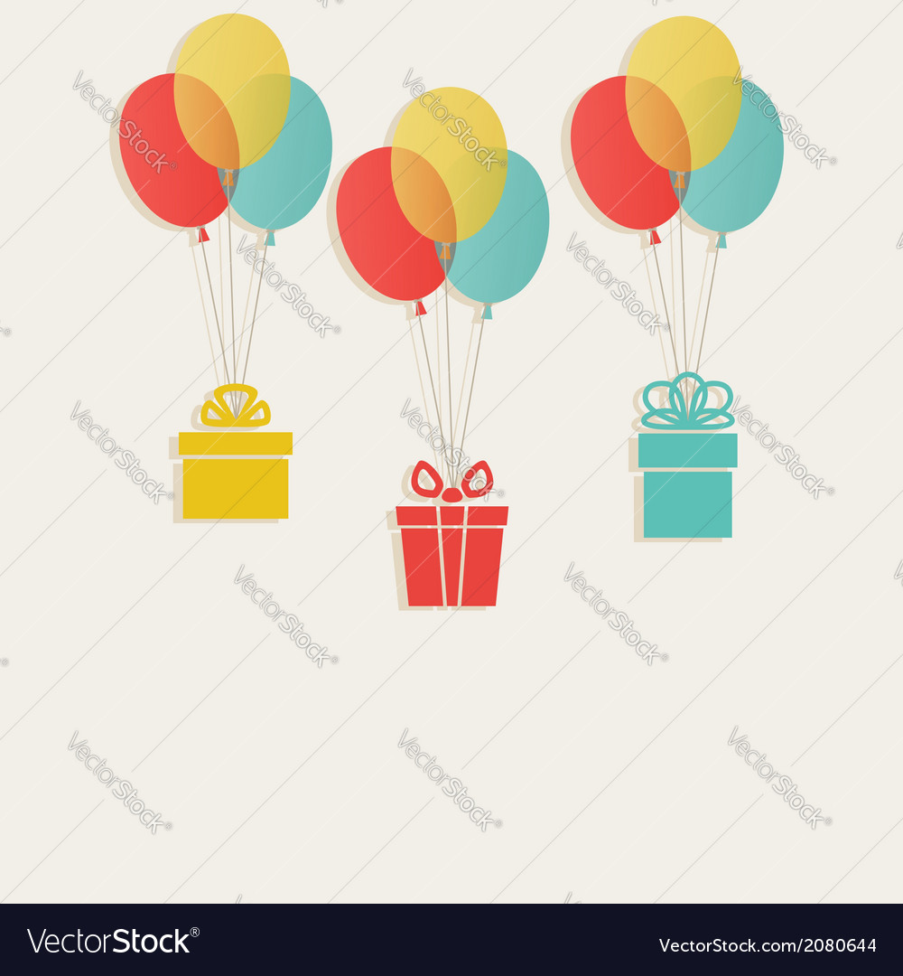 Gifts with colored balloons vector