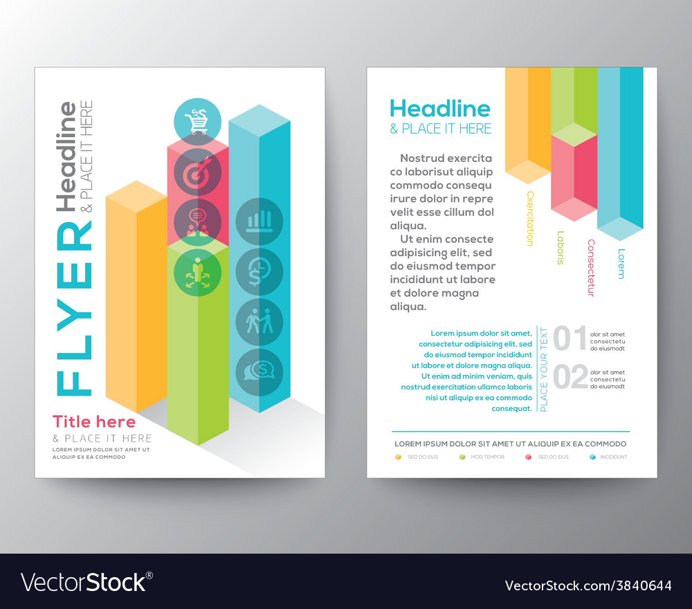 Isometric shape design brochure flyer layout vector