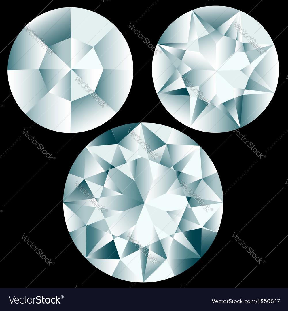 Three round diamond cuts vector