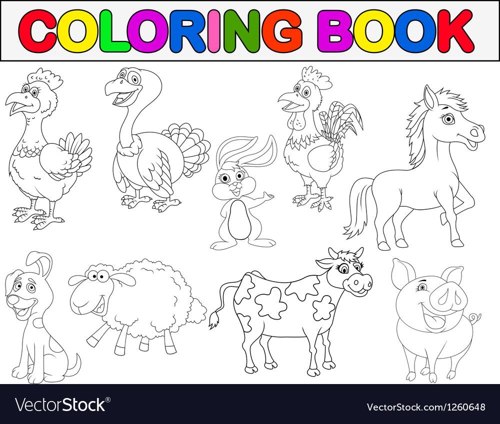 Farm animal coloring book vector