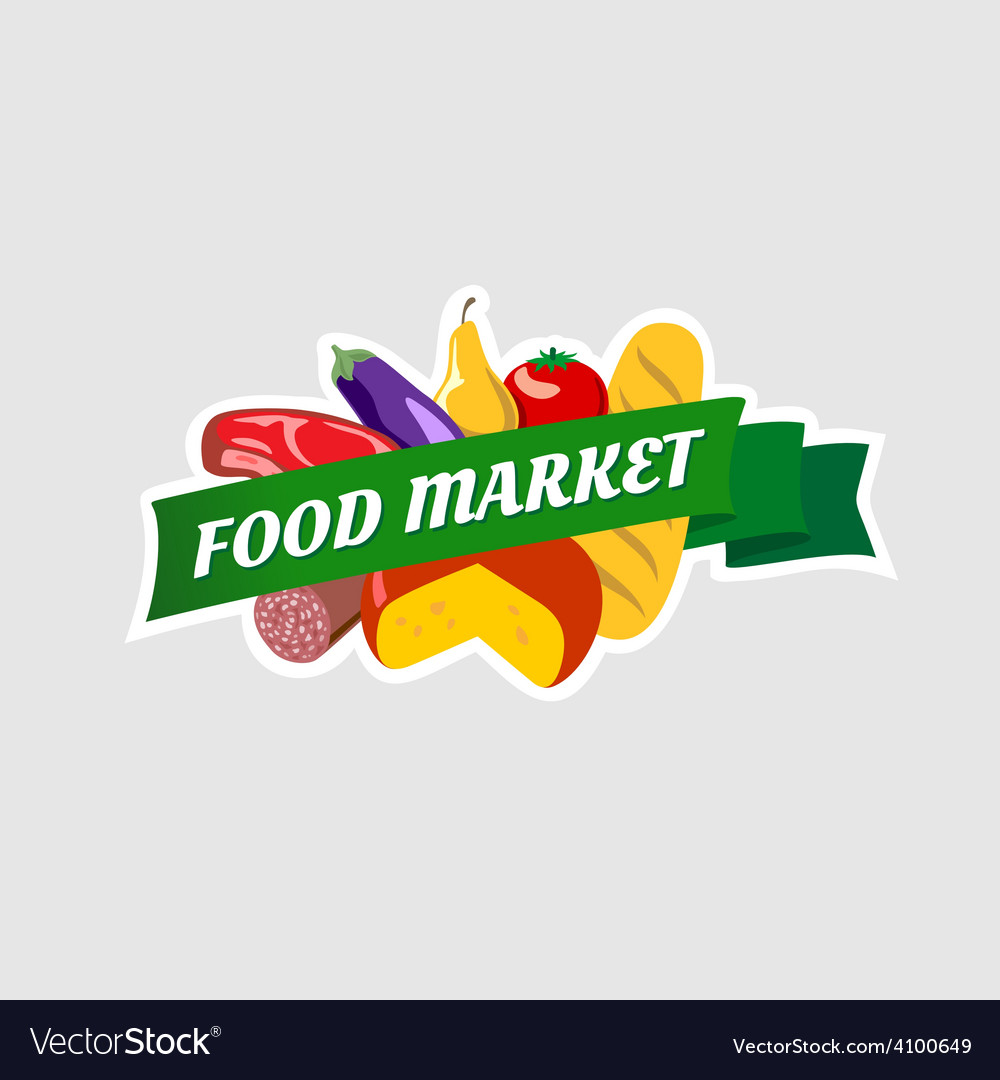 Food market sign vector