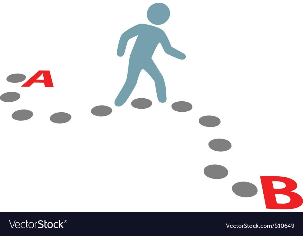 Person walk follow path plan point a to b vector