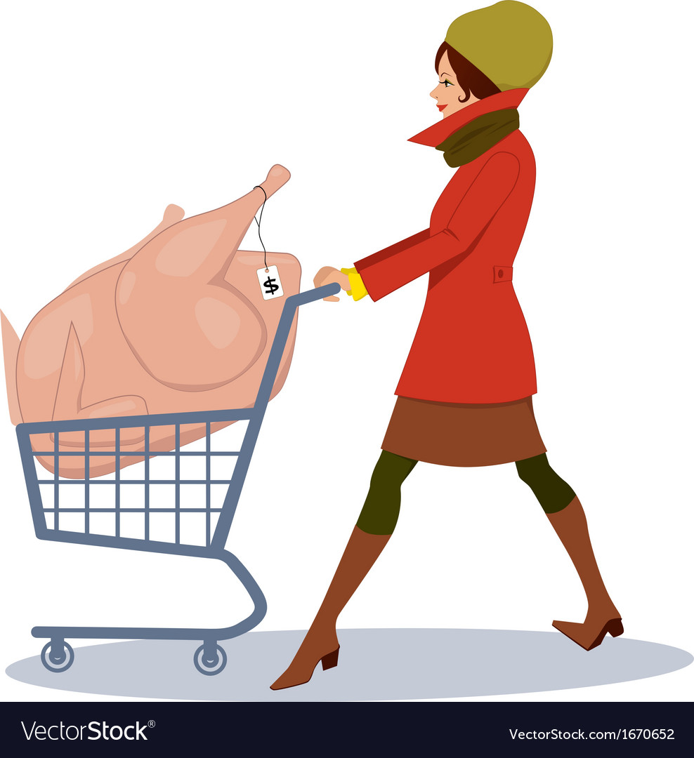 Grocery shopping for holidays vector