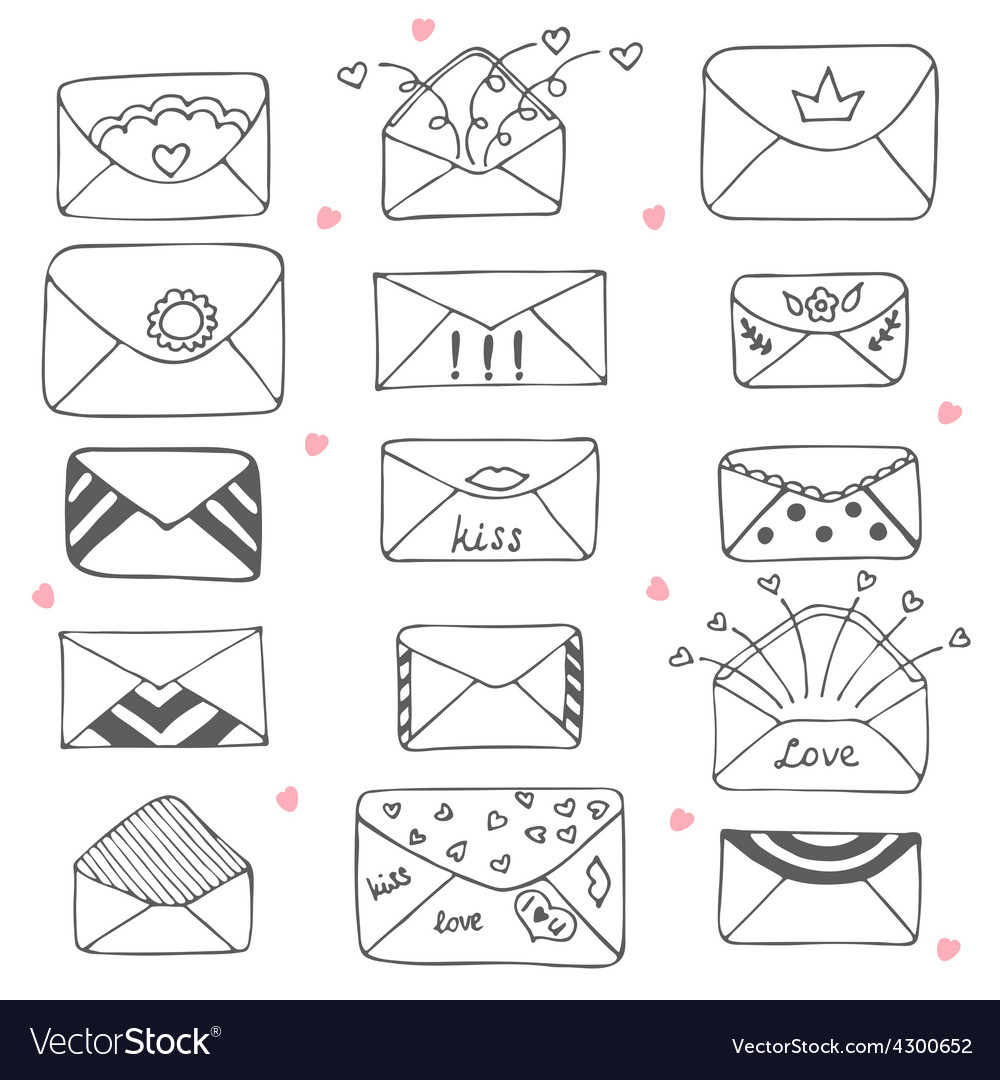 Set of hand drawn mailing envelopes communication vector