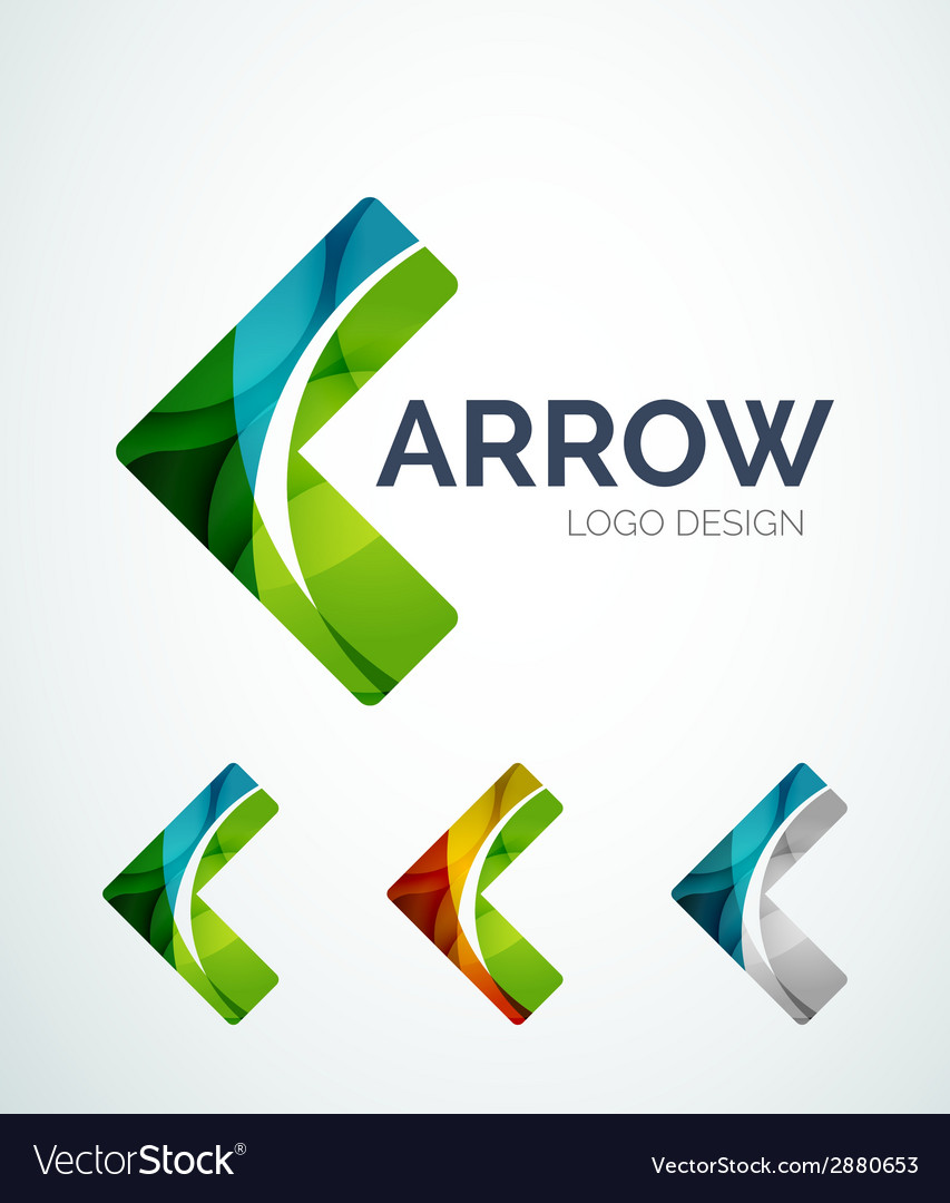 Arrow icon logo design made of color pieces vector