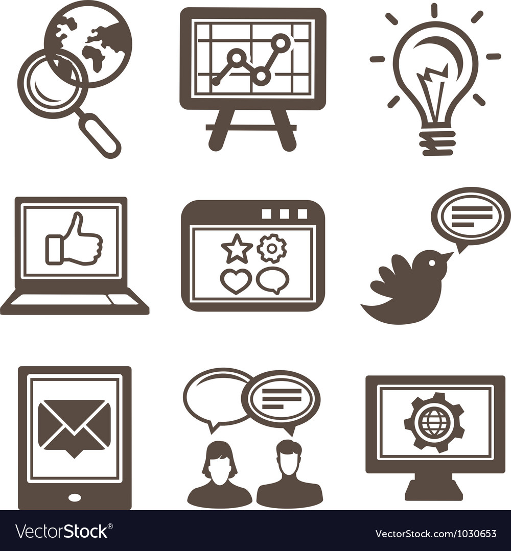 Internet marketing icons vector