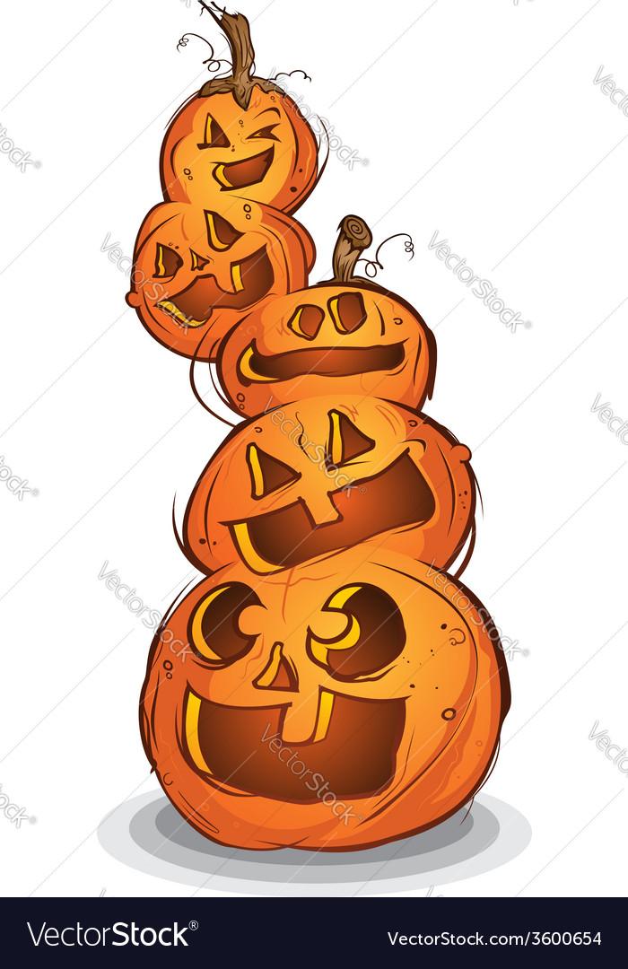 Pile of halloween pumpkin cartoon characters vector