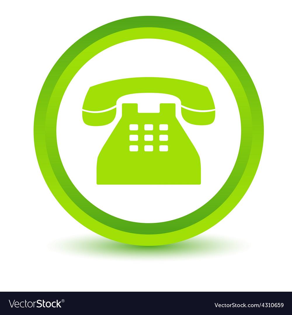 Green telephone icon vector