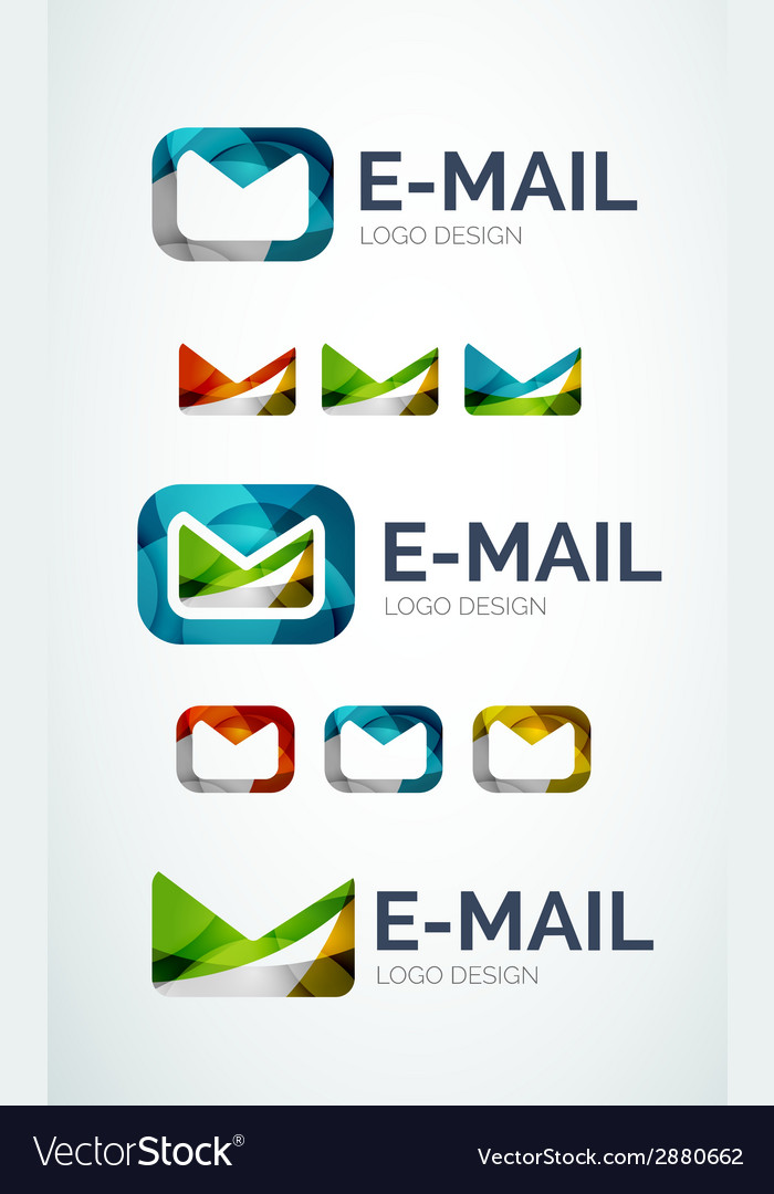 Email logo design made of color pieces vector