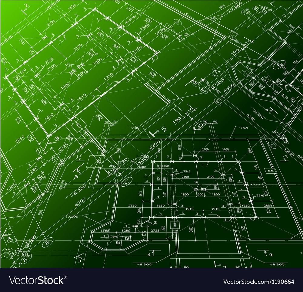 House plan on green background blueprint vector