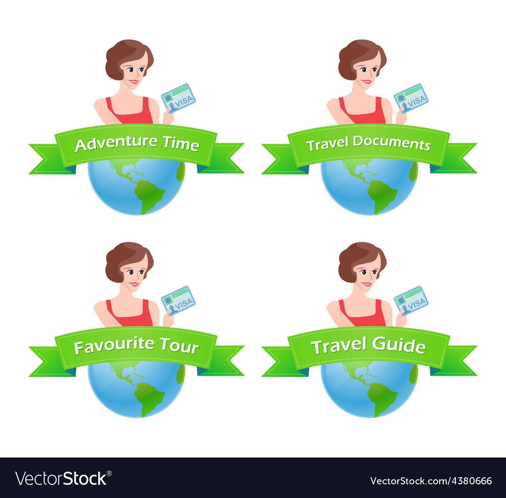 Set of travel emblem vector