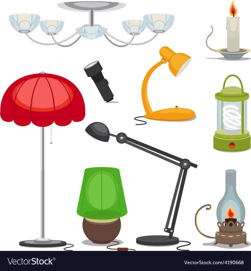 Lamps and lights chandelier flashlight vector