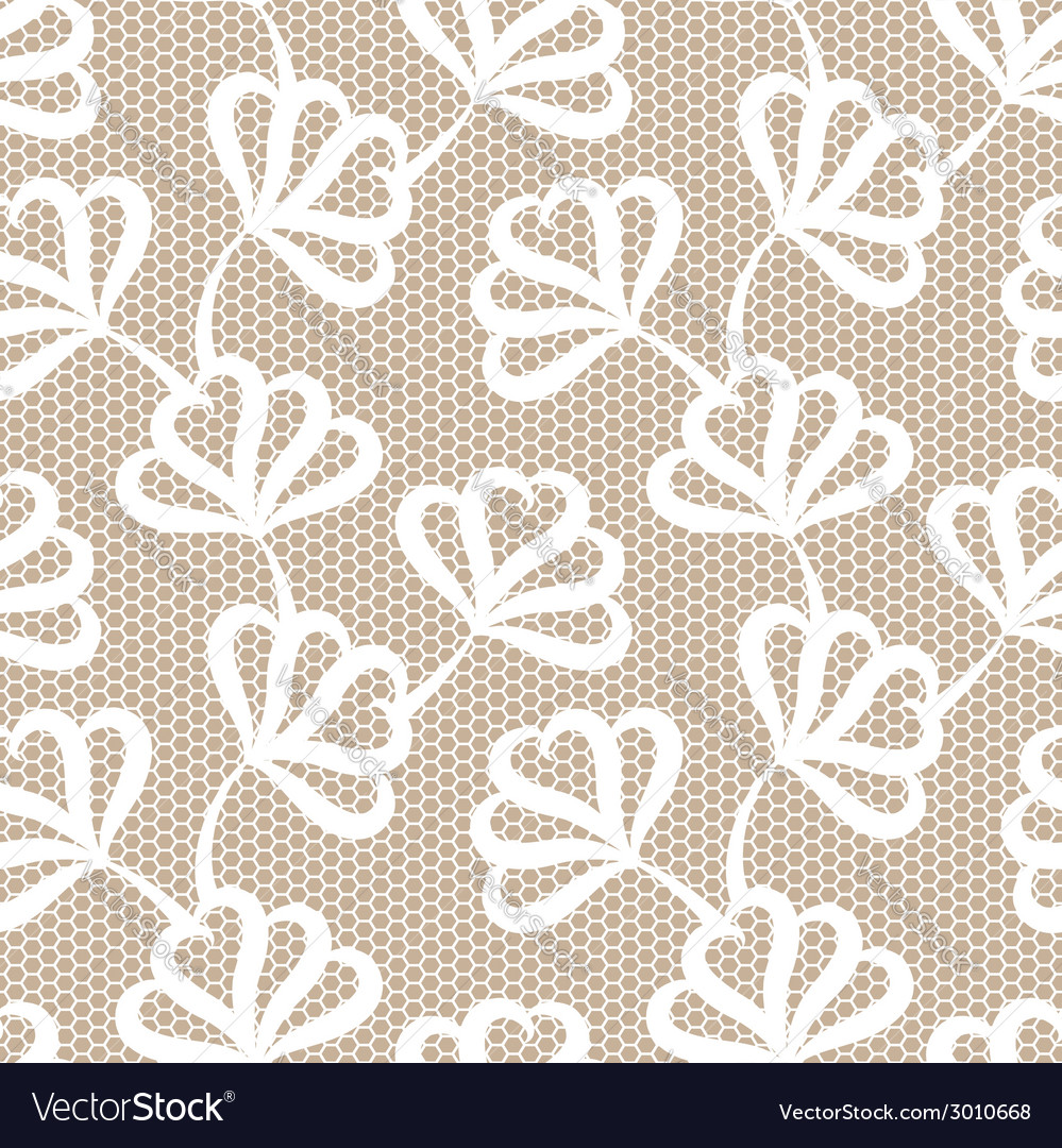 White seamless floral pattern on beige background vector