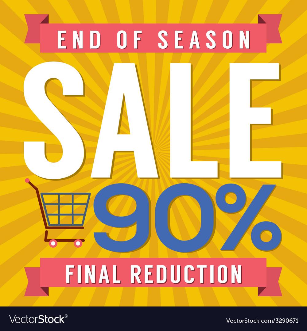 90 percent end of season sale vector