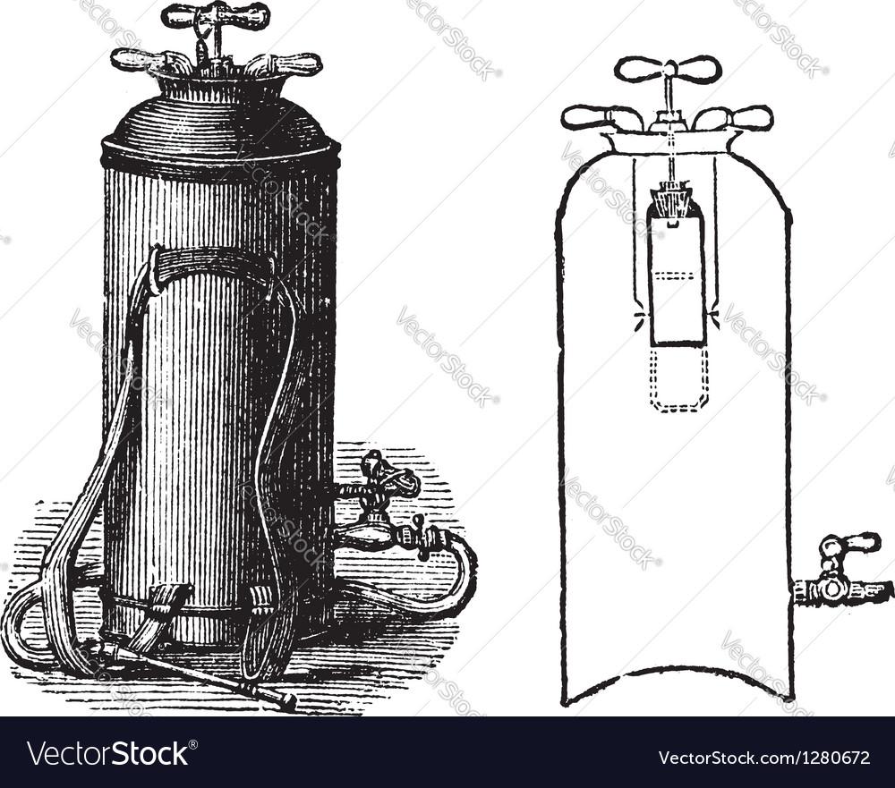 Fire extinguisher vintage engraved vector
