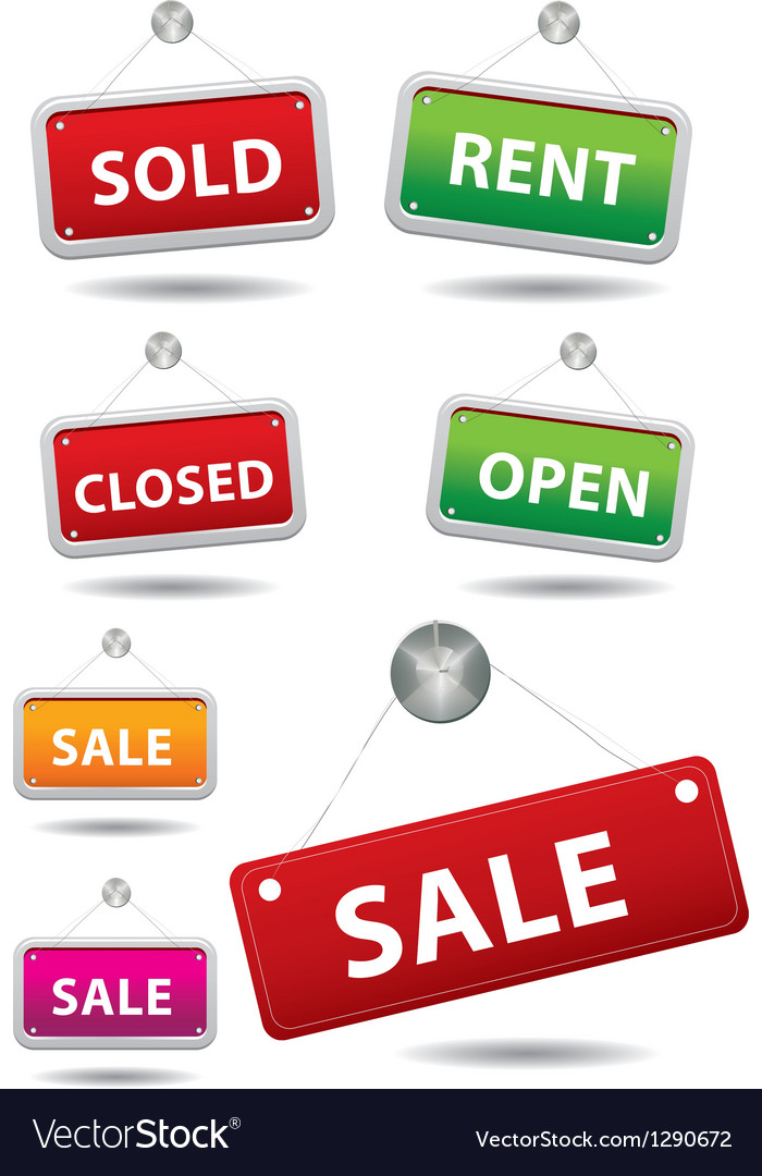 Open and closed signboard vector