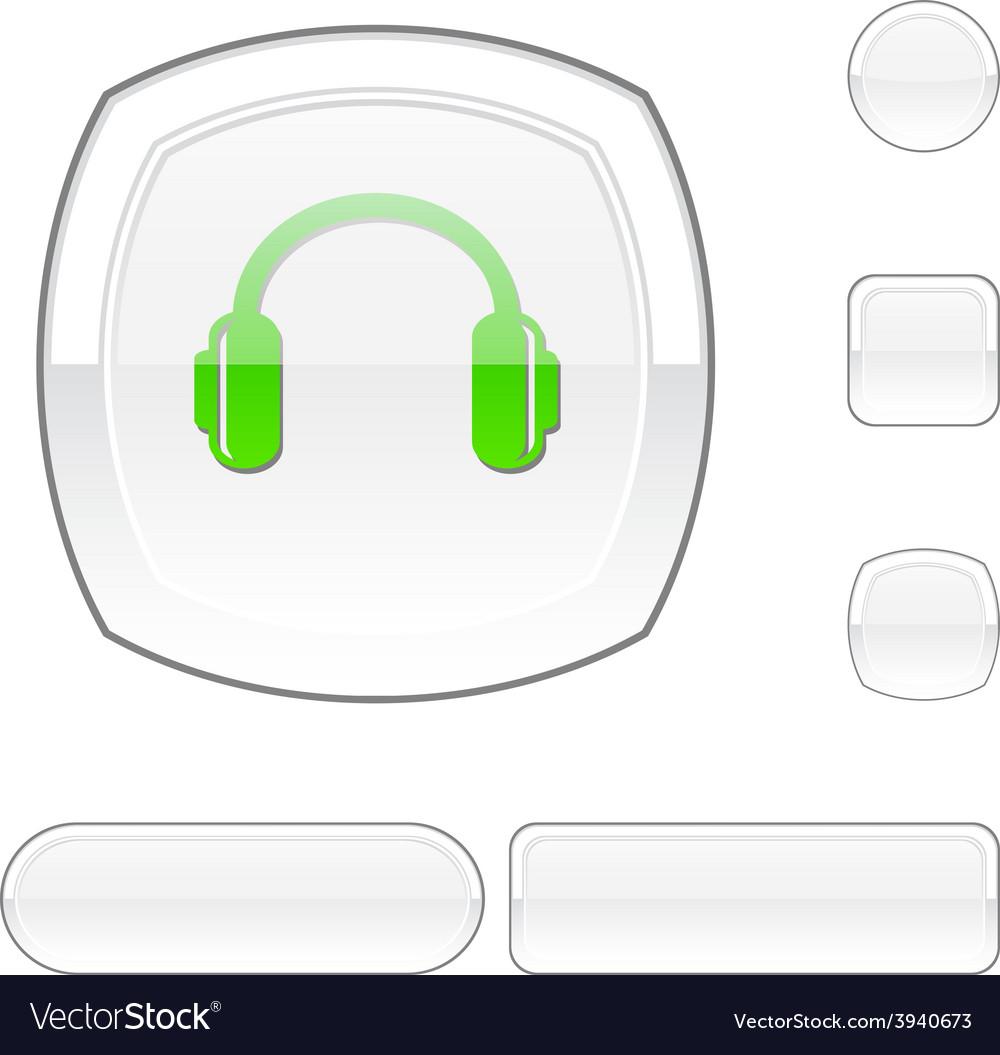 Headphones white button vector