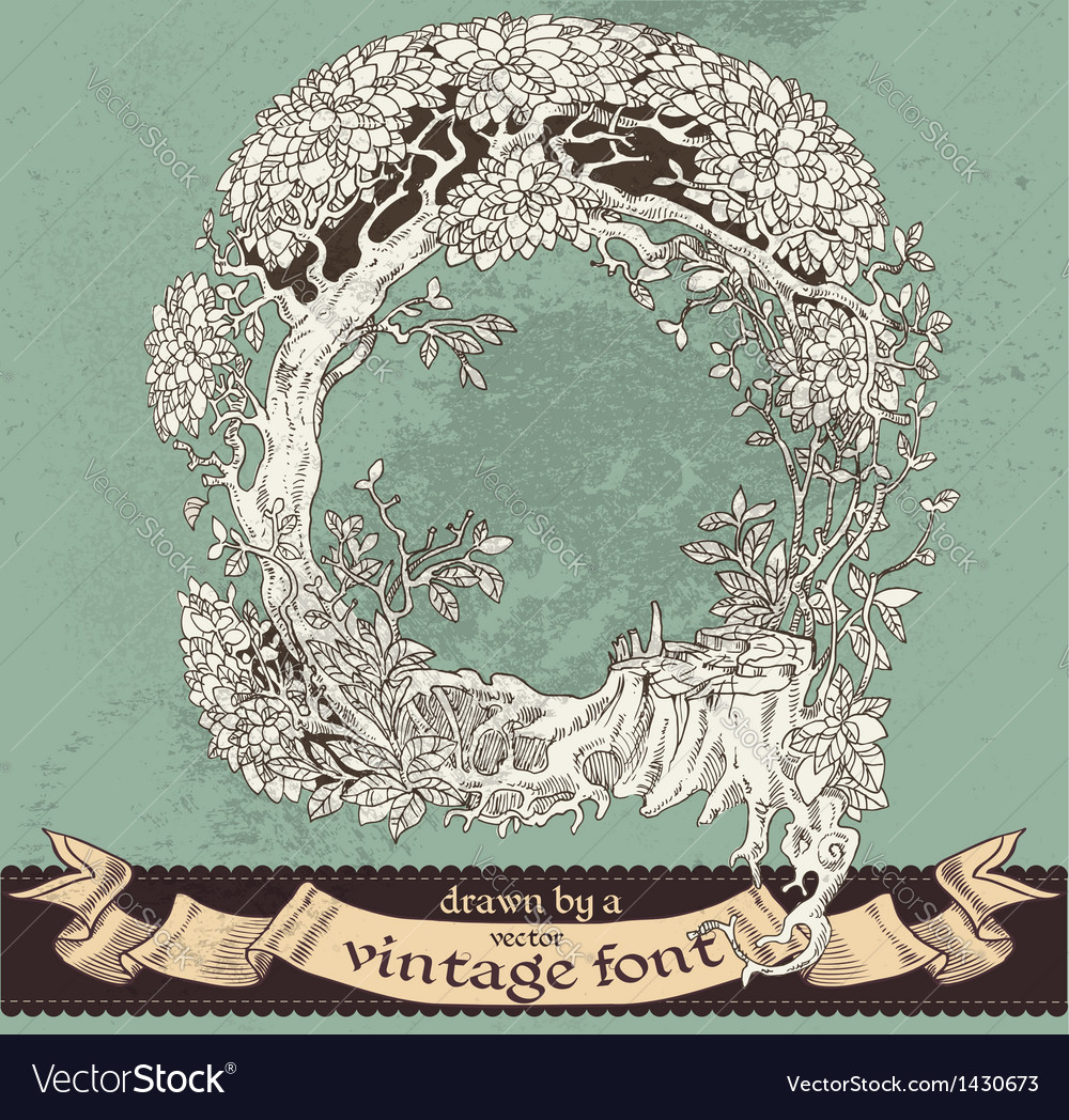 Magic grunge forest hand drawn by vintage font - q vector