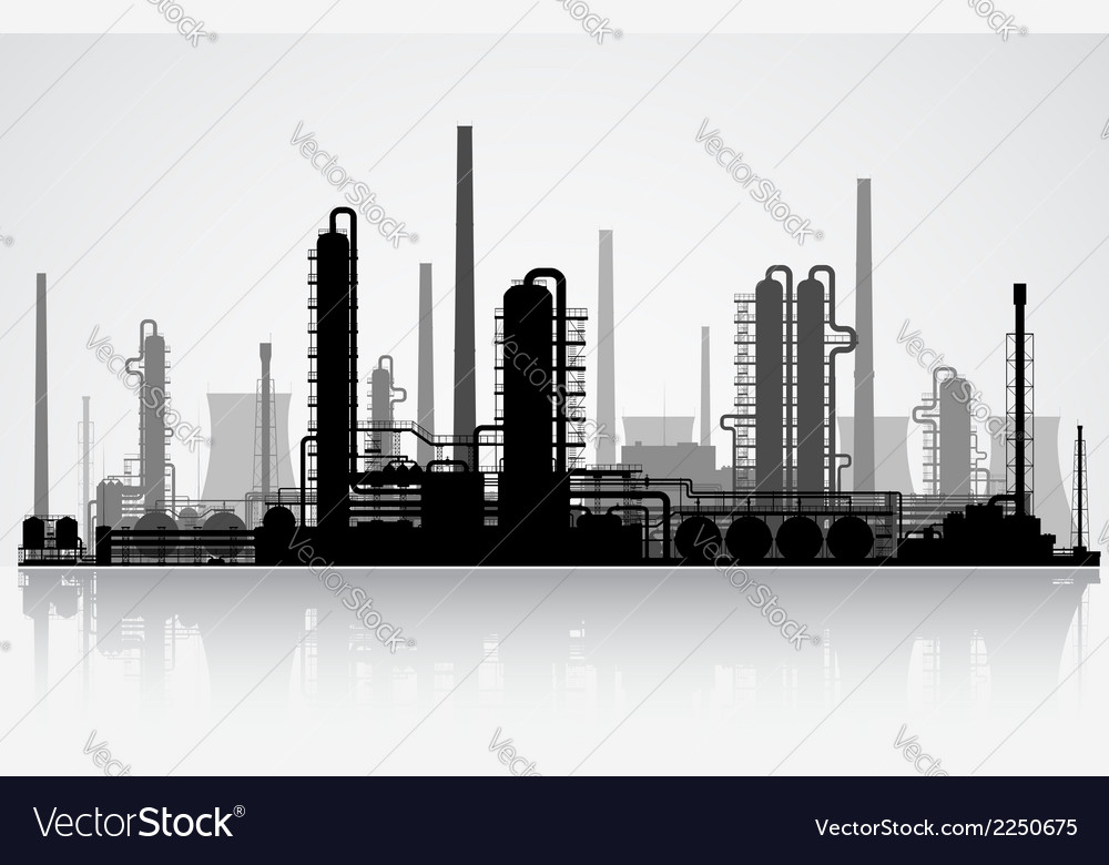 Oil refinery silhouette vector