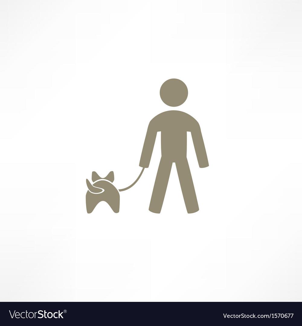 Walk the dog icon vector