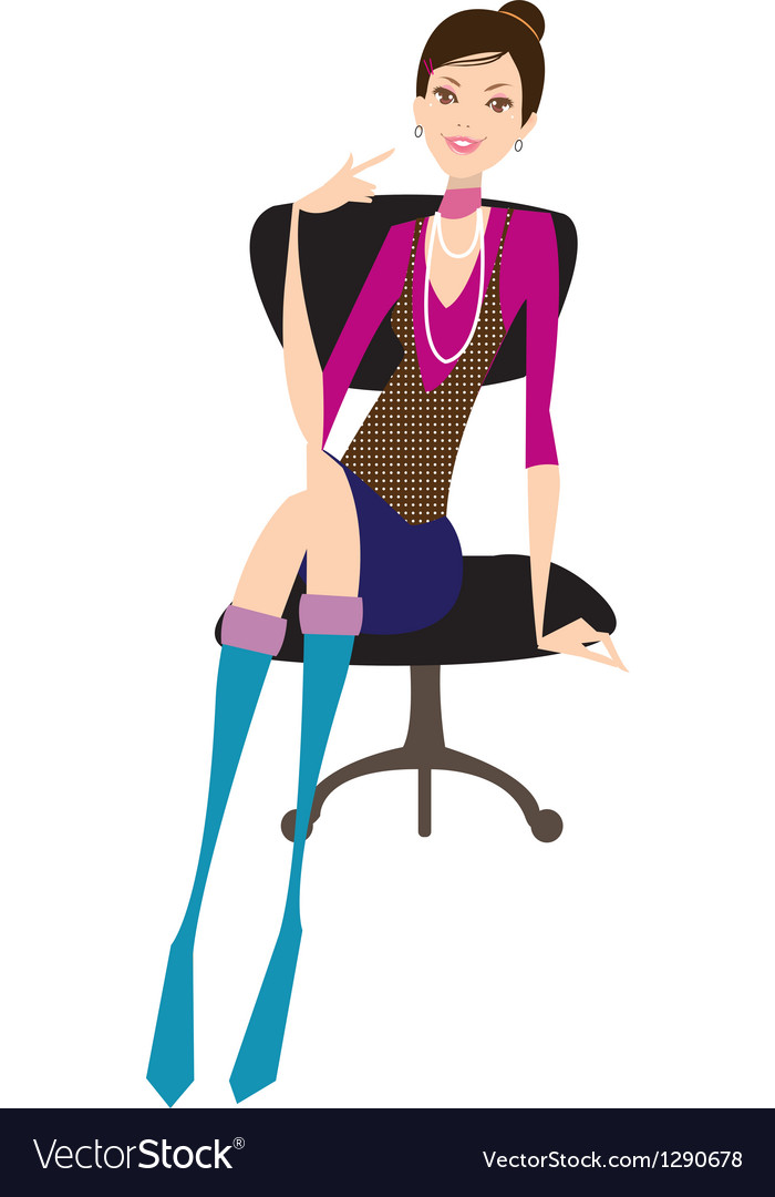 Girl sits on office chair vector