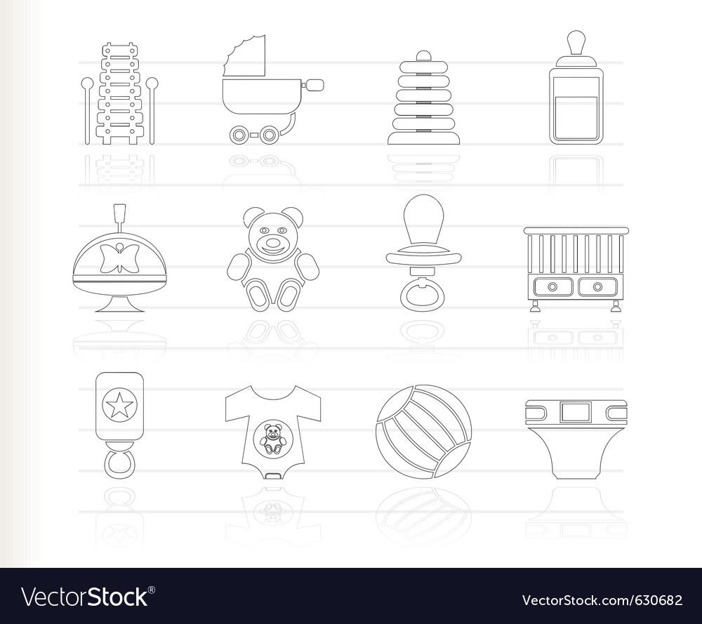 Baby sketch icons vector