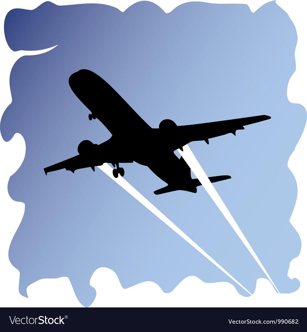 Plane in sky vector