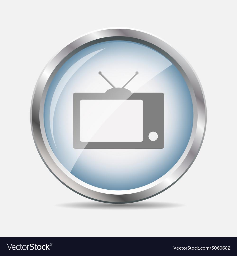 Tv glossy icon vector