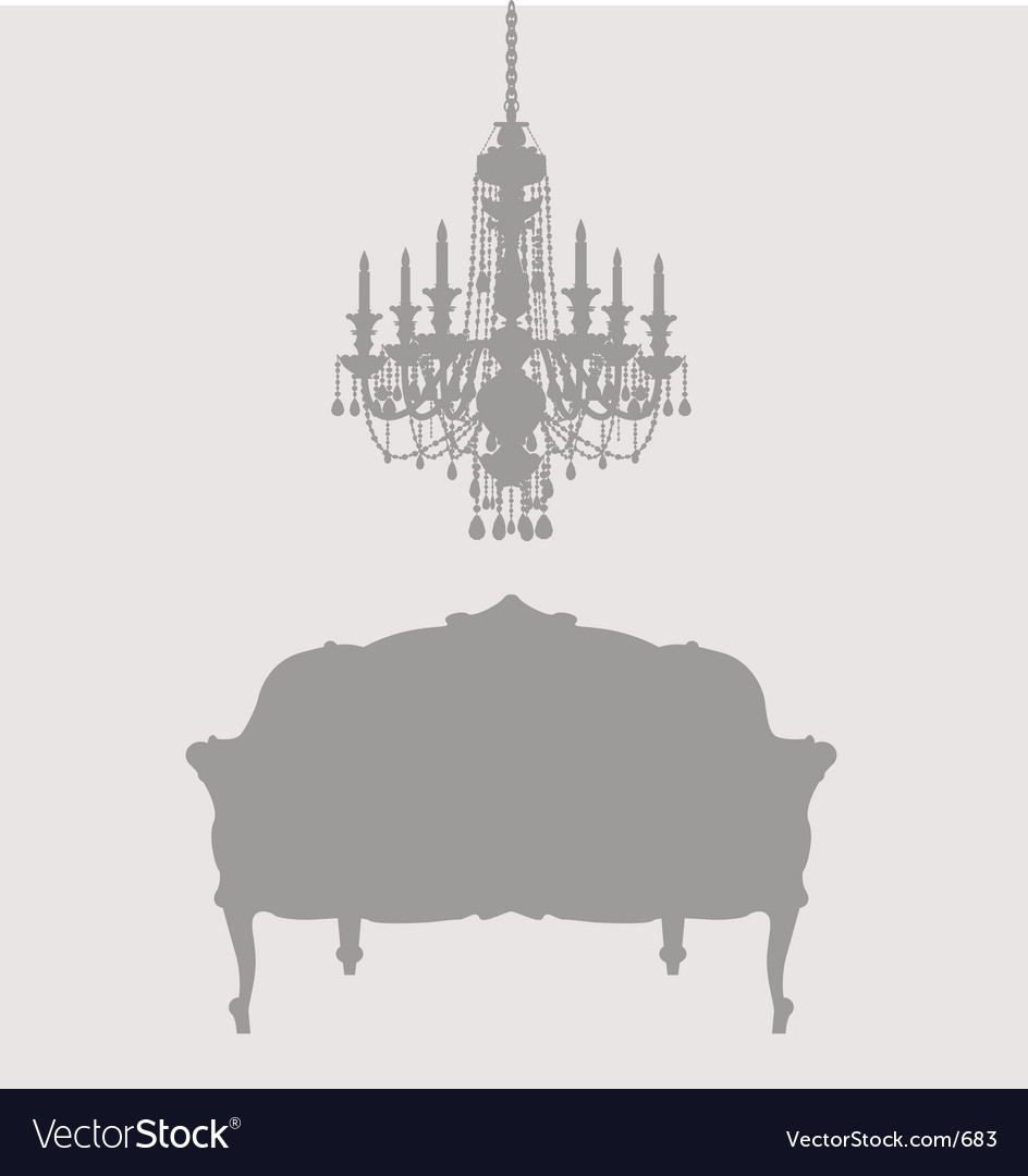 Chandelier and french lounge chair vector