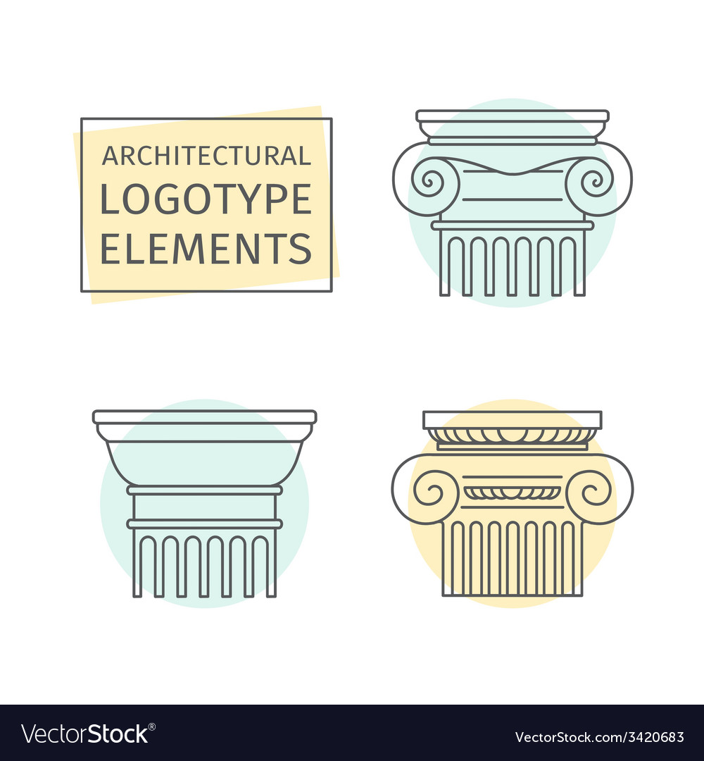 Line flat icons columns elements of a corporate vector