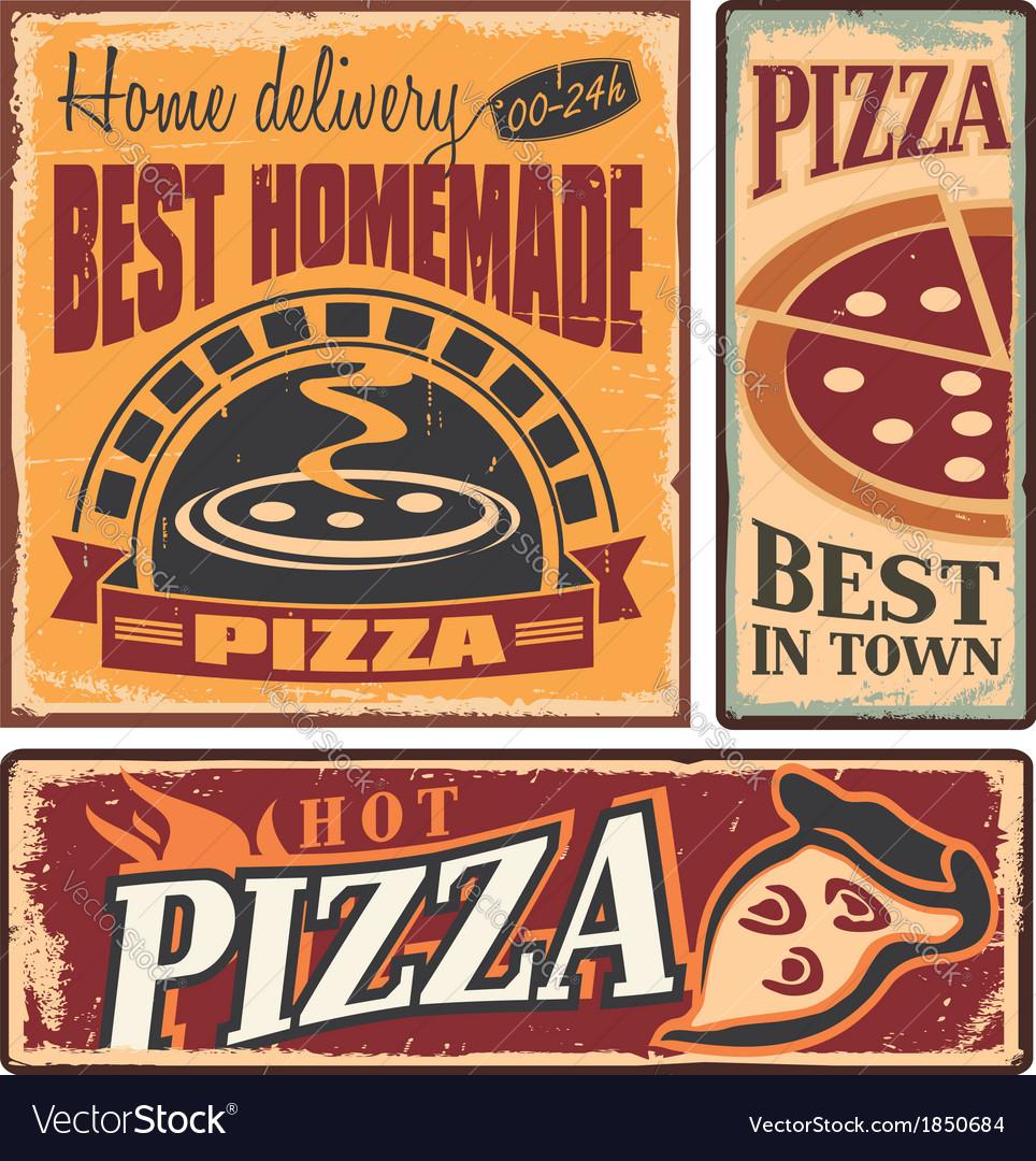Pizzeria retro metal signs set vector