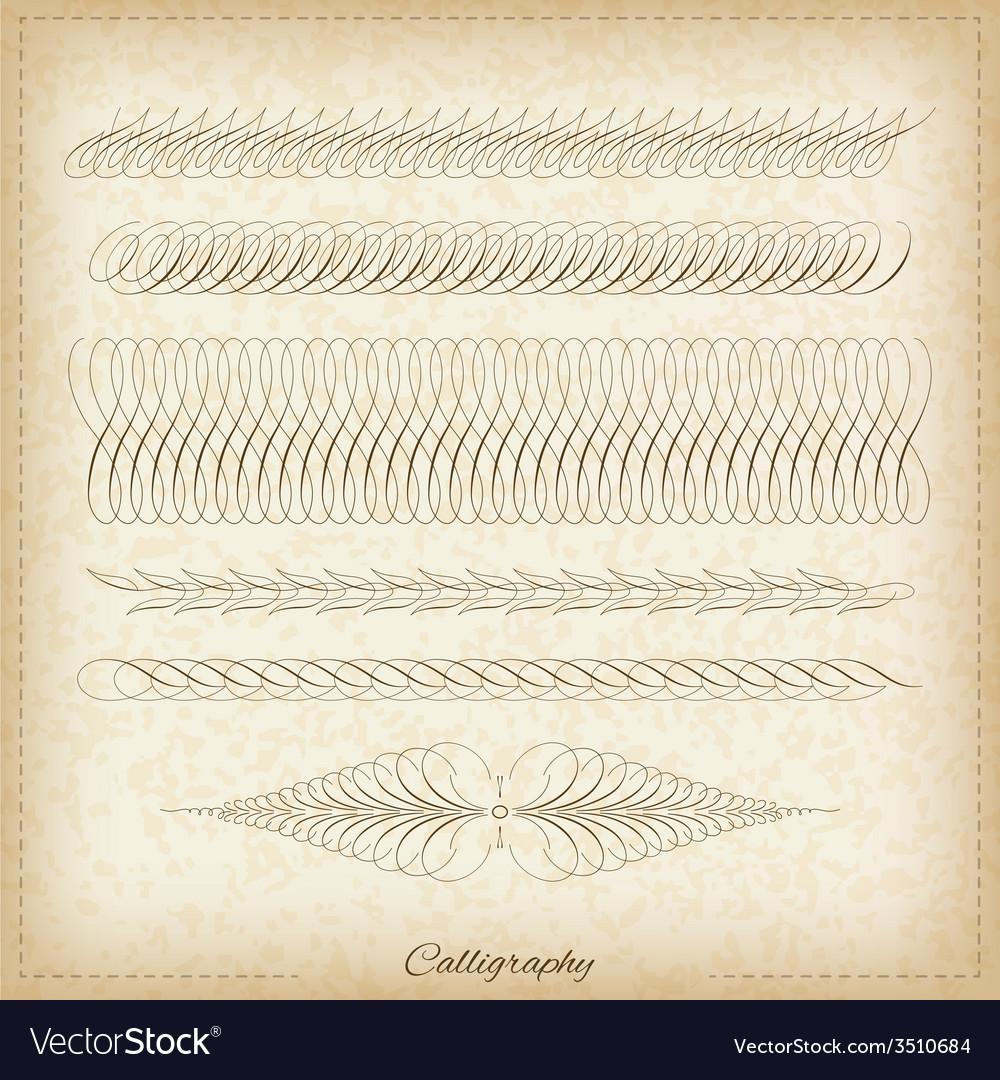 Set of calligraphy elemets vector