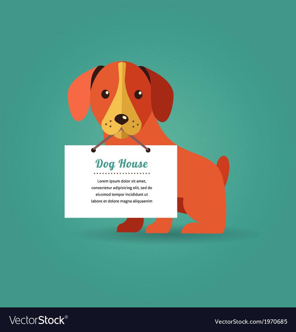Dog with text sign vector