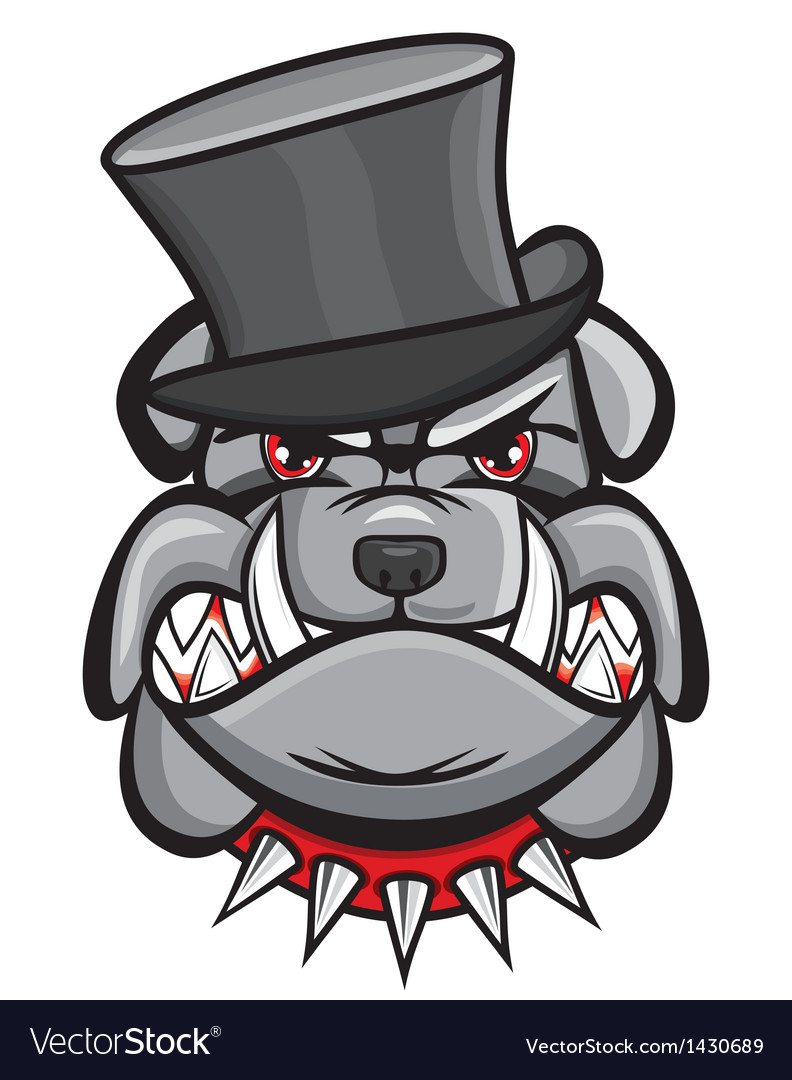 Angry bulldog head with hat vector