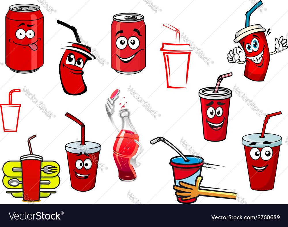 Cartoon cola and soda drinks vector