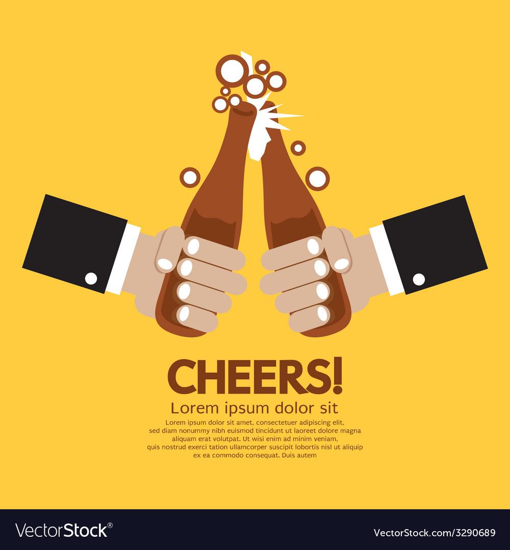 Cheering of two bottles beer vector