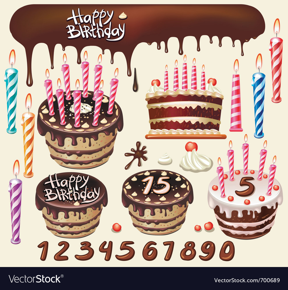 Set with chocolate cakes and birthday decoration vector