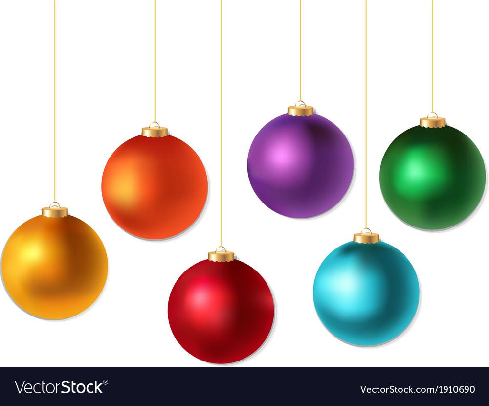 Color christmas balls set vector