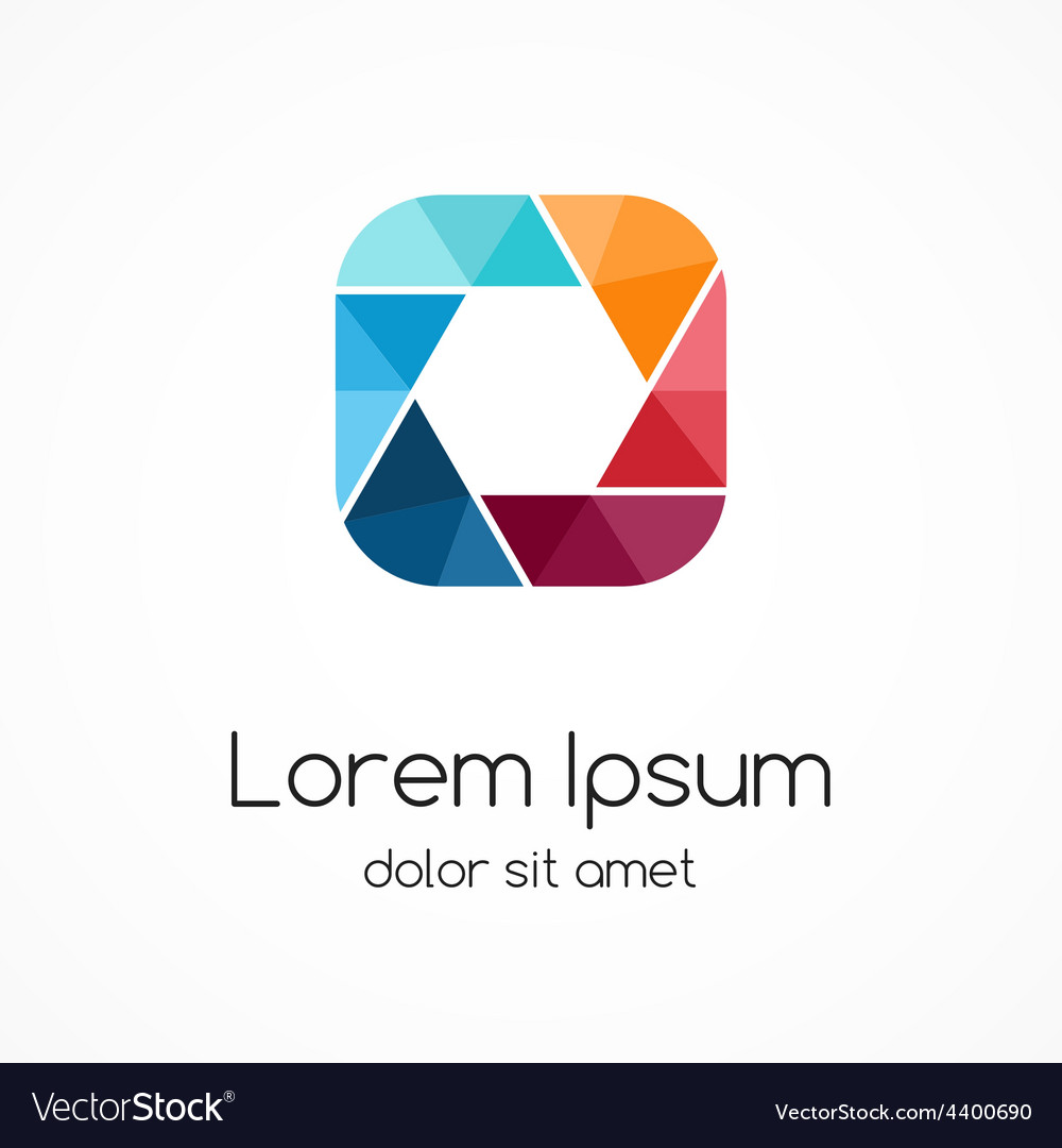 Logo template modern abstract square and vector